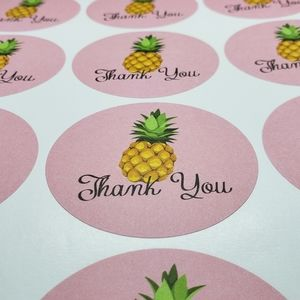 """96ct Lg Pineapple 2½"""" Thank You Stickers Round"""